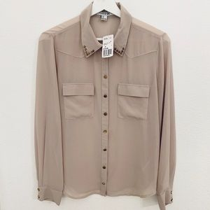 NEW Forever21 Button Up Blouse Top with Studs